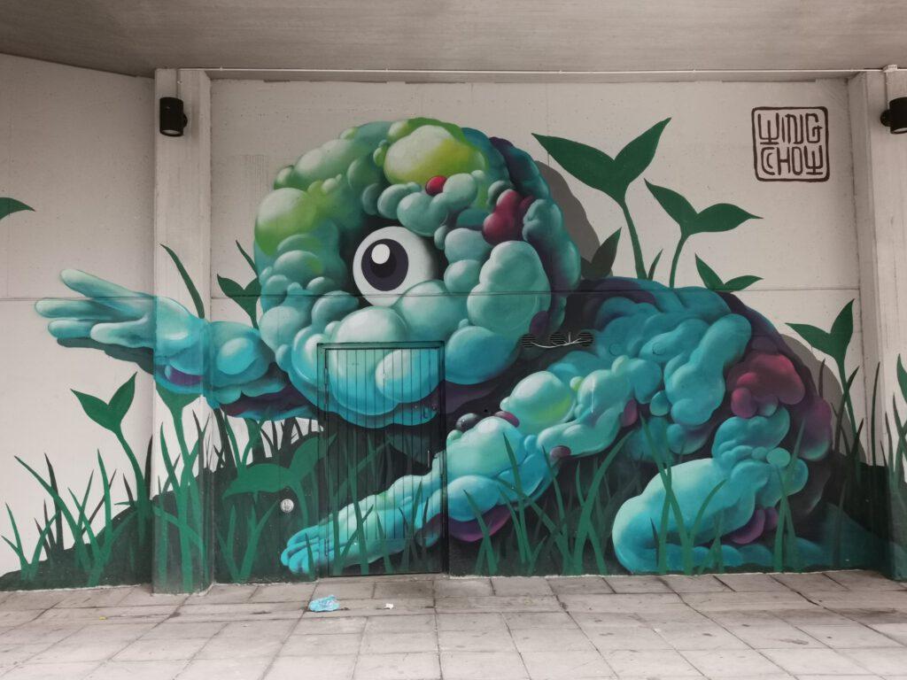 Muraali, katutaidetta pasilassa Asemapäällikönkatu 12